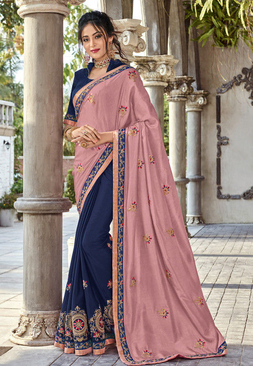 Half N Half Art Silk Saree in Old Rose and Navy Blue