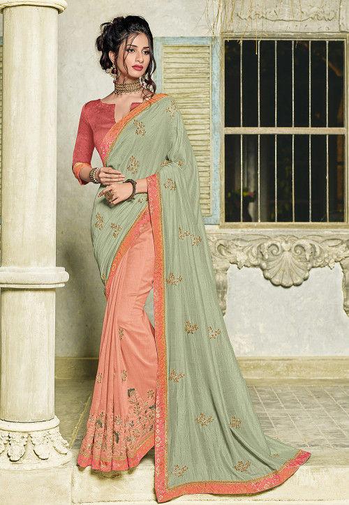 Half N Half Art Silk Saree in Pastel Green and Pastel Orange