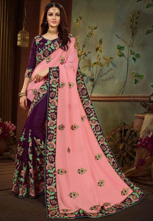 Half N Half Art Silk Saree in Pink and Purple
