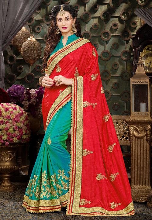 Half N Half Art Silk Saree in Red and Teal Green