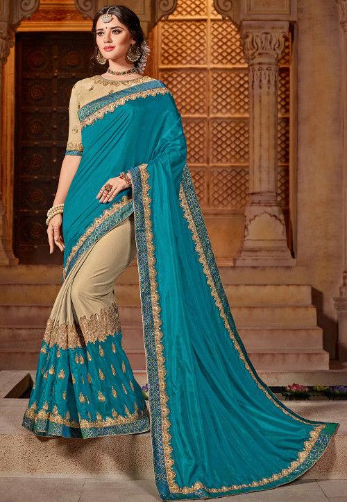 Half N Half Art Silk Saree in Teal Blue and Beige