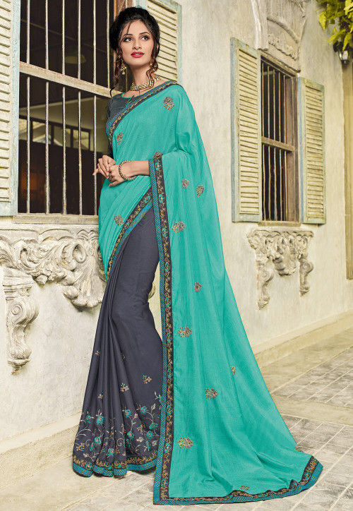 Half N Half Art Silk Saree in Turquoise and Grey