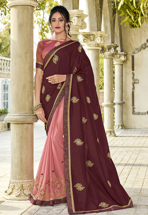 Half N Half Art Silk Saree in Wine and Pink