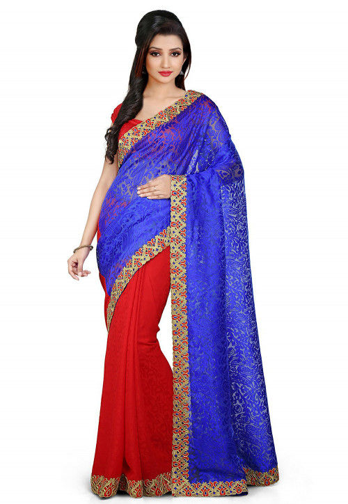 Half N Half Chantelle Net  Saree in Blue and Red