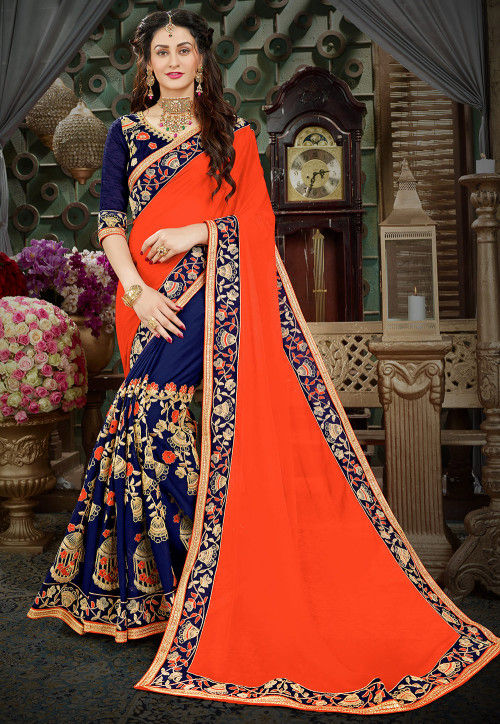Half N Half Chiffon Saree in Orange and Navy Blue