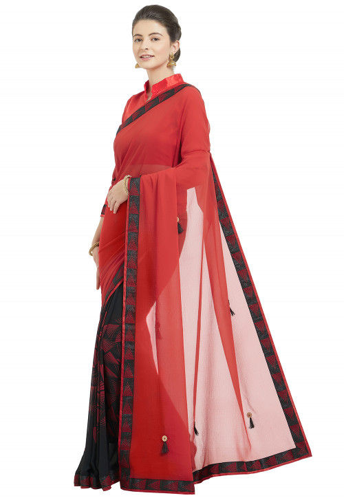 Half N Half Chiffon Saree in Red and Black