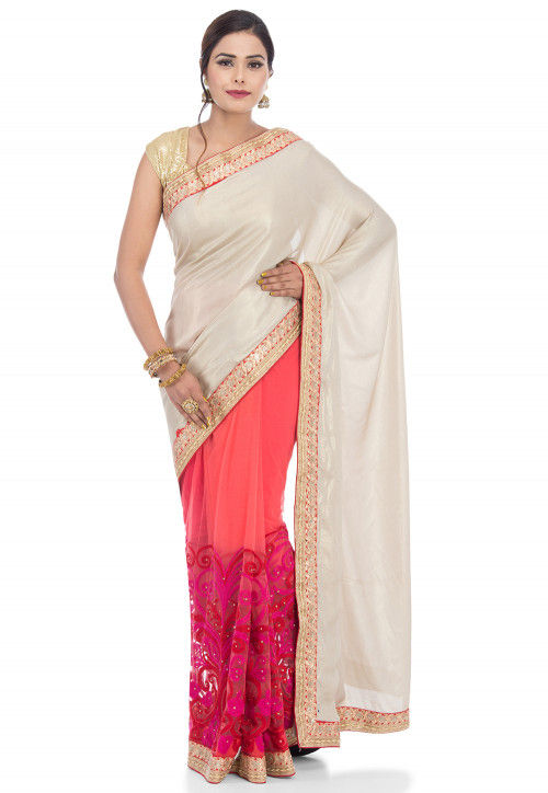 Half N Half Georgette Saree in Off White and Coral Red