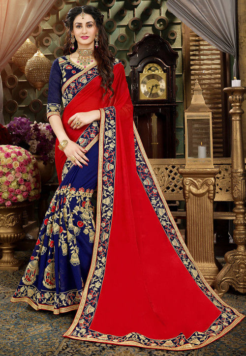 Half N Half Georgette Saree in Red and Blue