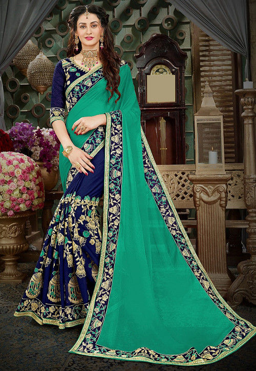 d846466e78 Half N Half Georgette Saree in Teal Green and Navy Blue : SPTA795