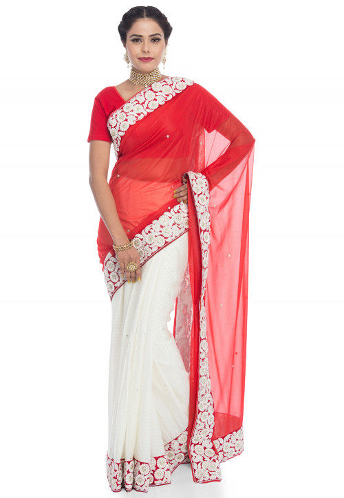 Half N Half Lycra Saree in Red and Off White