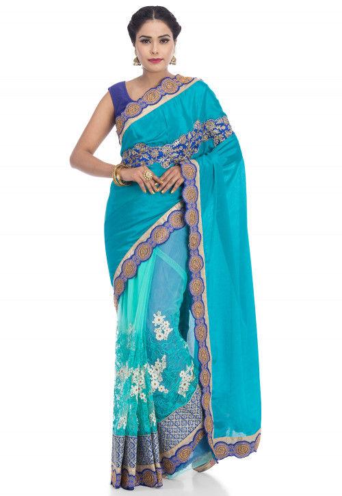 Half N Half Satin Chiffon Saree in Teal Blue