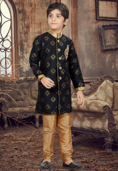 Hand Embroidered Art Silk Jacquard Sherwani in Black