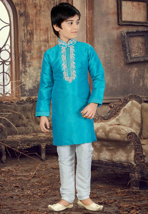Hand Embroidered Art Silk Kurta Set in Sky Blue