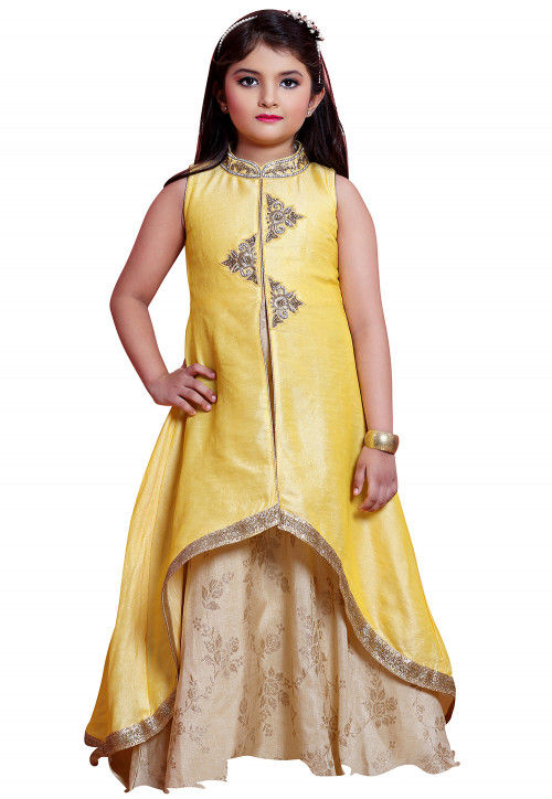 Hand Embroidered Art Silk Layered Gown in Yellow and Beige