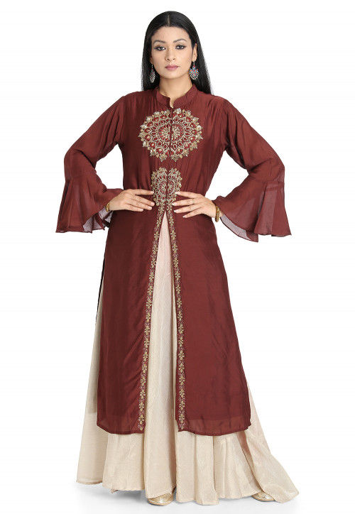 Hand Embroidered Art Silk Layered Kurta in Maroon and Off White