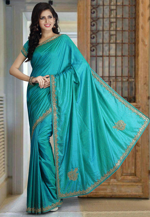Hand Embroidered Art Silk Saree in Turquoise
