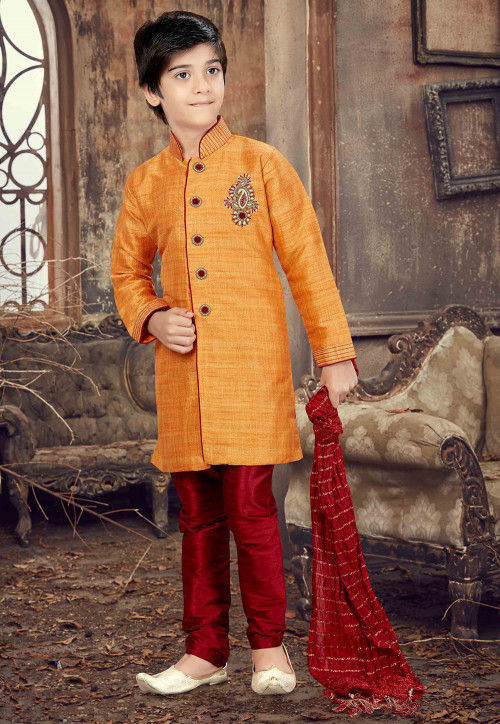 Hand Embroidered Art Silk Sherwani in Light Orange