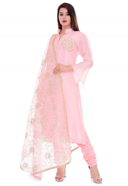 Hand Embroidered Art Silk Straight Suit in Peach