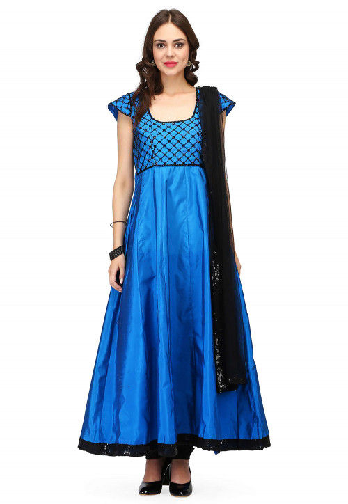 Hand Embroidered Art Tafeta Silk Anarkali Suit in Teal Blue