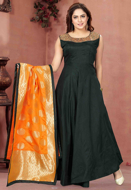Hand Embroidered Chanderi Silk Abaya Style Suit in Dark Green