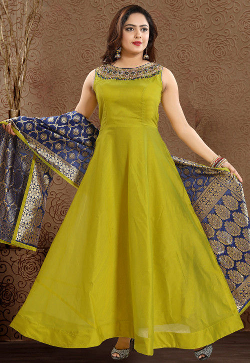 Hand Embroidered Chanderi Silk Abaya Style Suit in Olive Green