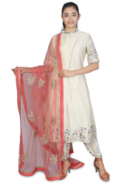 Embroidered Chanderi Silk Punjabi Suit in Off White