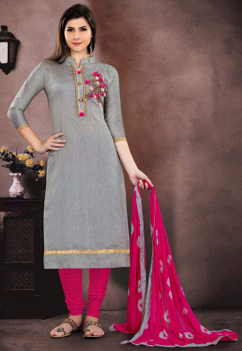 Hand Embroidered Chanderi Silk Straight Suit in Grey