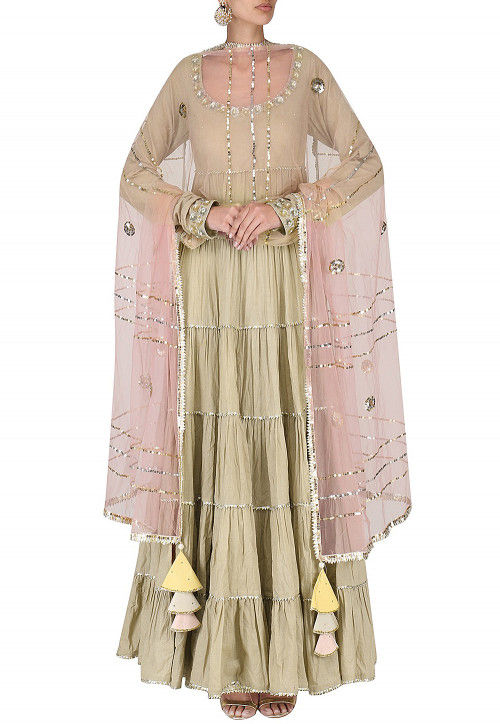 Hand Embroidered Cotton Abaya Style Suit in Fawn