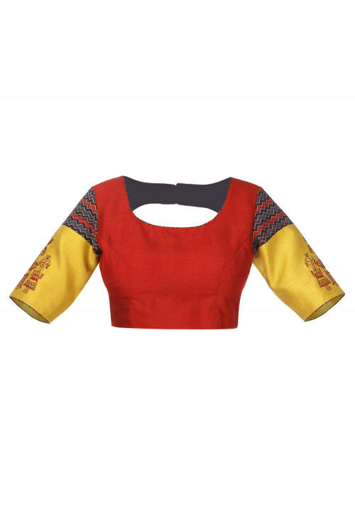 Hand Embroidered Cotton Blouse in Red and Multicolor