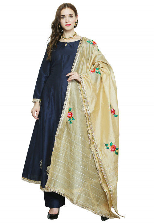 Hand Embroidered Cotton Silk Pakistani Suit in Navy Blue