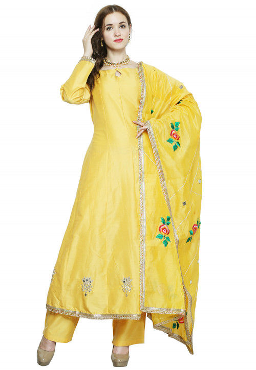Hand Embroidered Cotton Silk Pakistani Suit in Yellow