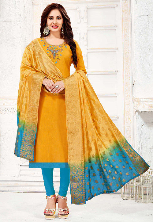 Hand Embroidered Cotton Slub Straight Suit in Mustard