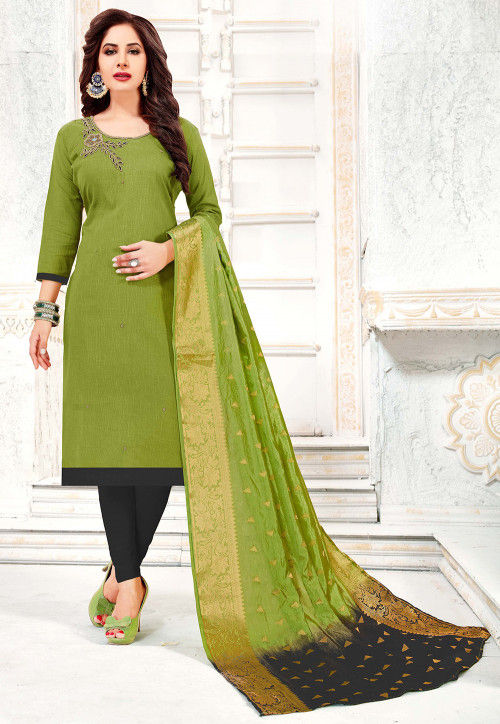Hand Embroidered Cotton Slub Straight Suit in Olive Green