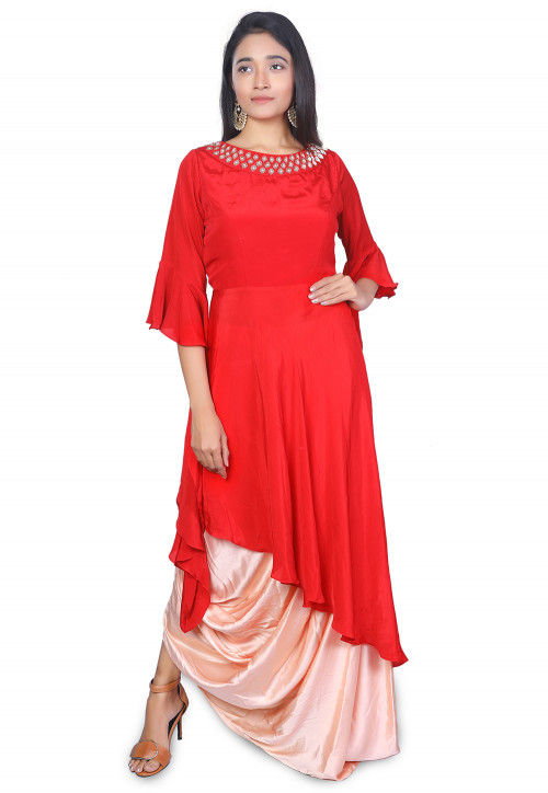 Embroidered Crepe Kurta N Cowl Skirt in Red and Peach
