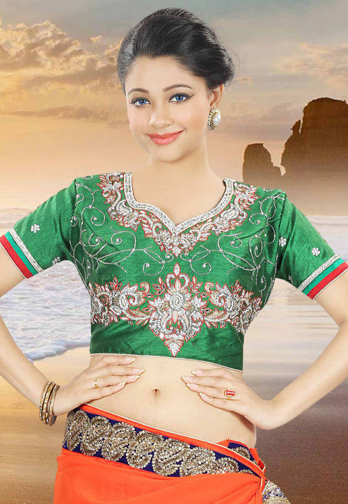 Hand Embroidered Dupion Blouse in Green