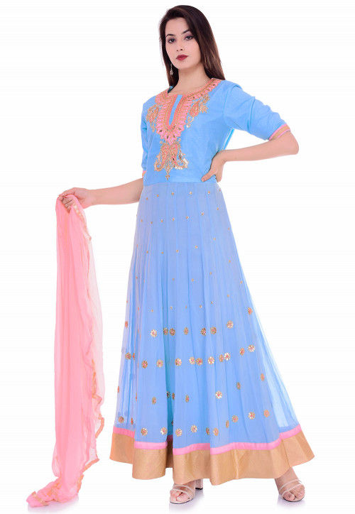 Hand Embroidered Georgette Abaya Style Suit in Light Blue