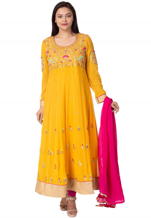 Hand Embroidered Georgette Abaya Style Suit in Mustard