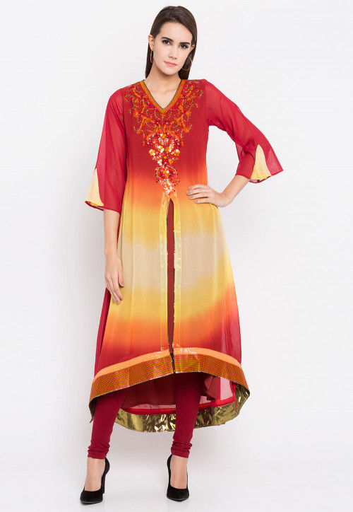 Hand Embroidered Georgette Anarkali Kurta in Red and Yellow