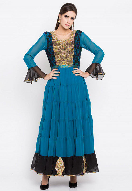 Hand Embroidered Georgette Long Kurta in Teal Blue