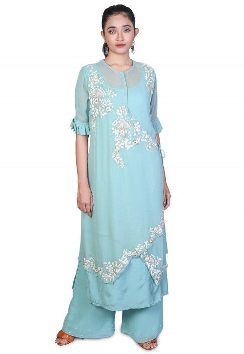 Embroidered Georgette Pakistani Suit in Light Blue