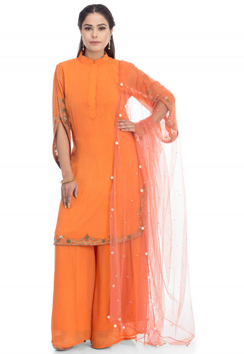 Hand Embroidered Georgette Pakistani Suit in Orange