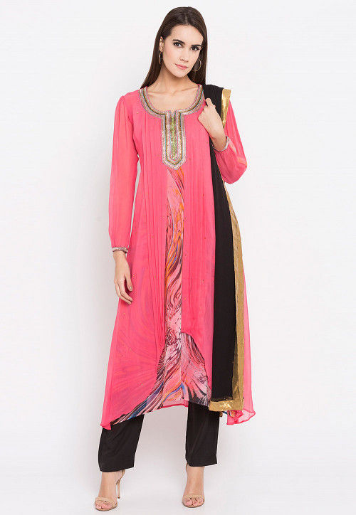 Hand Embroidered Georgette Pakistani Suit in Pink