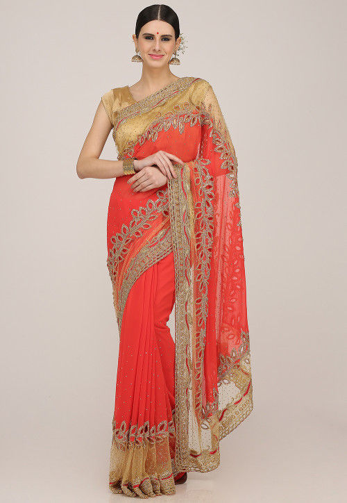 Hand Embroidered Georgette Saree in Coral Red