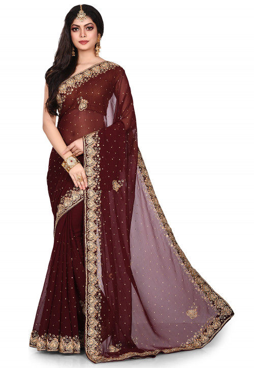 Hand Embroidered Georgette Saree in Dark Brown