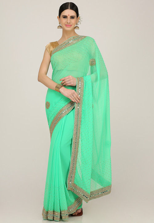 Hand Embroidered Georgette Saree in Sea Green