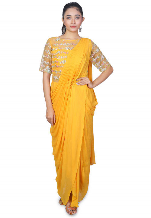 Hand Embroidered Georgette Saree Style Gown in Yellow