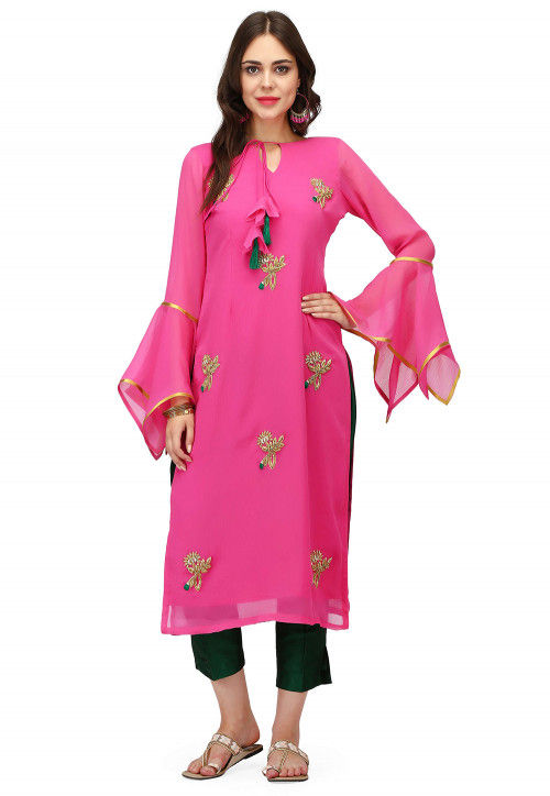 Hand Embroidered Georgette Straight Kurta in Pink