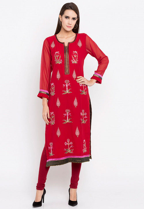 Hand Embroidered Georgette Straight Kurta in Red