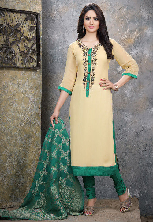 Hand Embroidered Georgette Straight Suit in Light Beige