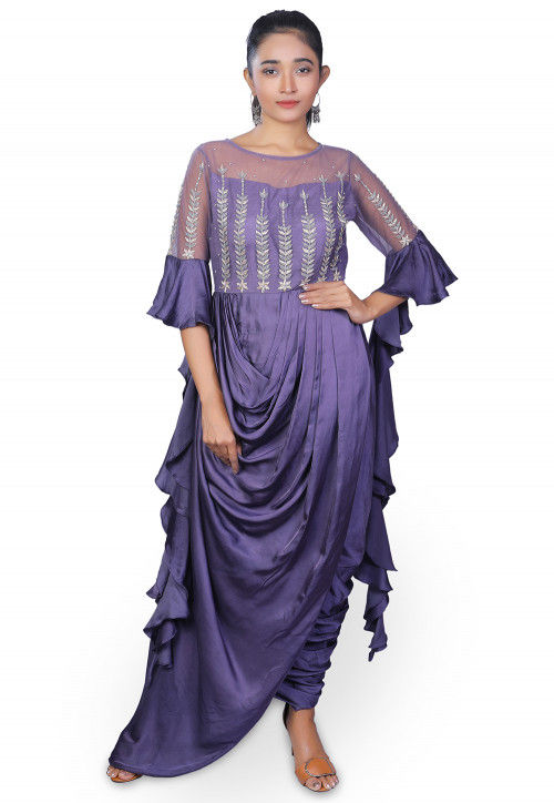 Hand Embroidered Modal Satin Cowl Style Dress in Purple